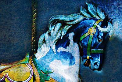 Blue Carousel Horse Poster