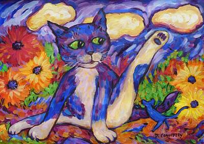 Poster featuring the painting Blue Cat Among Daisies by Dianne  Connolly