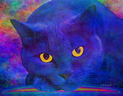 Blue Cat Ponders Poster by Diane Parnell
