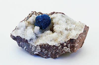 Blue Cavansite Rosette In Rock Groundmass Poster by Dorling Kindersley/uig