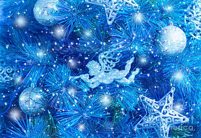 Blue Christmas Tree Background Poster by Anna Om