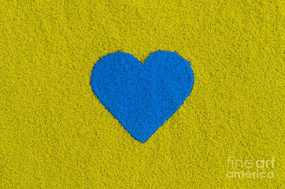 Blue Coloured Heart Poster by Tim Gainey
