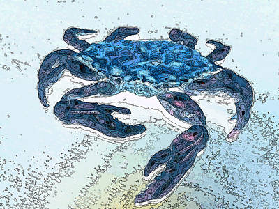 Blue Crab Watercolor Ink Poster by