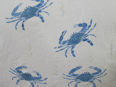 Blue Crabs On Sand Poster