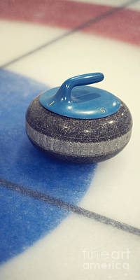 Blue Curling Stone Poster