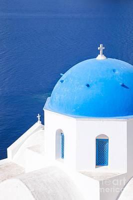 Blue Domed Church In Oia - Santorini - Greece Poster