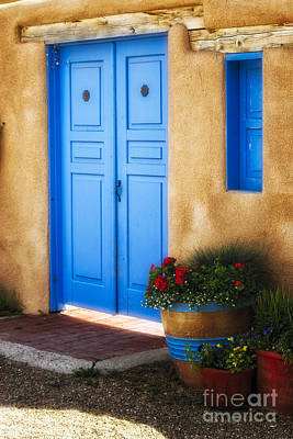 Blue Door Adobe Walls Poster by George Oze