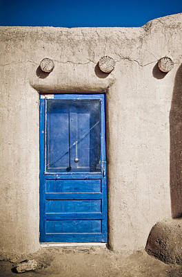 Blue Door And Bell Adobe Poster
