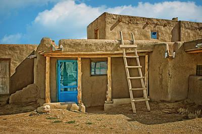 Blue Door And Ladder - Taos Pueblo Poster by Nikolyn McDonald