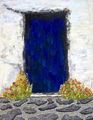 Blue Door Farmhouse Poster by Robert Handler