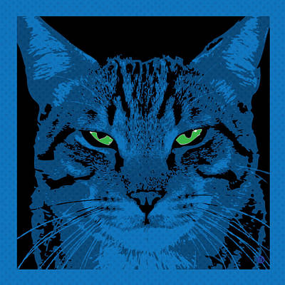 Blue Dot Cat Poster by Gary Grayson