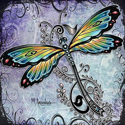 Blue Dragonfly Poster by Maria Arango