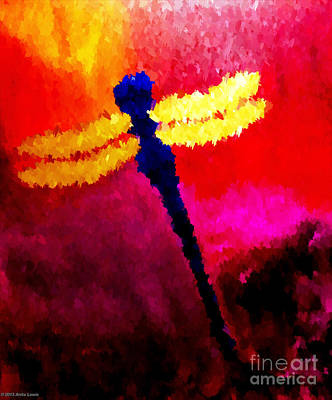 Poster featuring the painting Blue Dragonfly No 2 by Anita Lewis