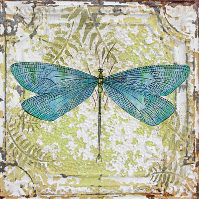 Blue Dragonfly On Vintage Tin Poster by Jean Plout