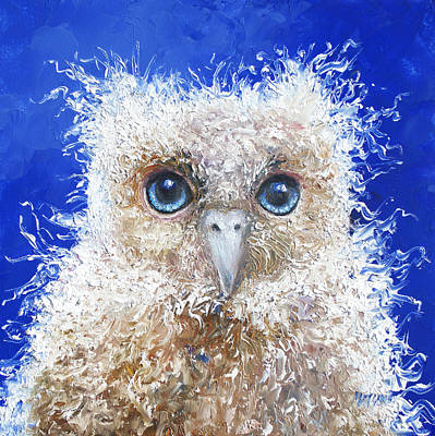 Blue Eyed Owl Painting Poster