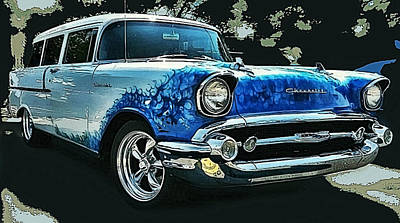 Blue Flames '57 Poster by Victor Montgomery