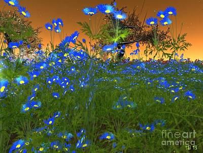 Poster featuring the digital art Blue Flowers by Susanne Baumann