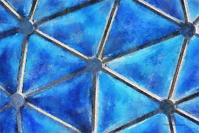 Blue Geometrical Pattern Photo Art Poster by Thomas Woolworth