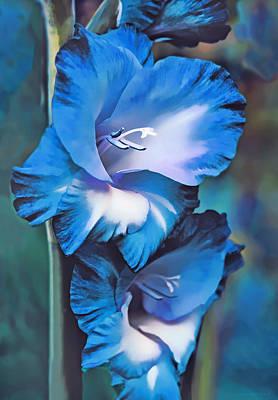 Blue Gladiola Flowers Poster by Jennie Marie Schell