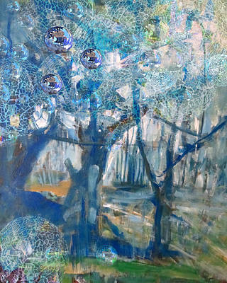 Blue Glass Bead Tree Poster by John Fish