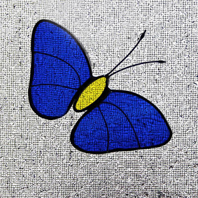 Blue Glass Butterfly Square Poster by Karen Adams
