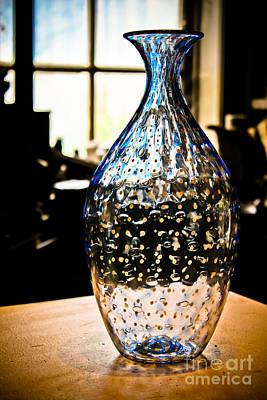 Blue Glass Vase Poster by Colleen Kammerer