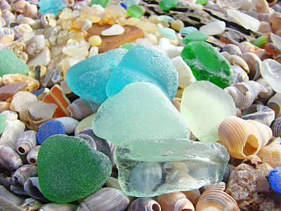 Blue Green Sea Glass Coastal Art Poster by Baslee Troutman
