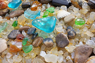 Blue Green Seaglass Coastal Beach Baslee Troutman Poster by Baslee Troutman