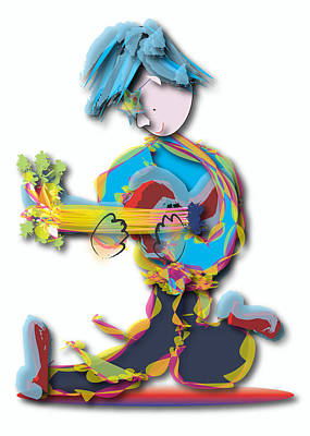 Poster featuring the digital art Blue Hair Guitar Player by Marvin Blaine