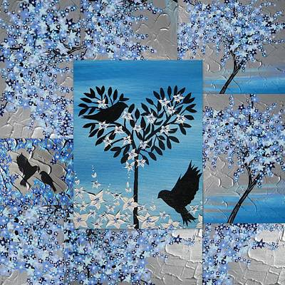 Blue Heart Tree Poster by Cathy Jacobs