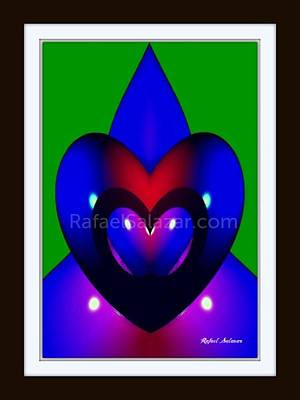 Poster featuring the painting Blue Hearts by Rafael Salazar