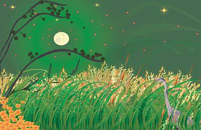 Blue Heron Grasses Poster