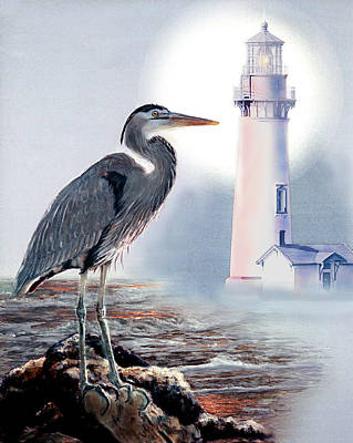 Blue Heron In The Circle Of Light Poster