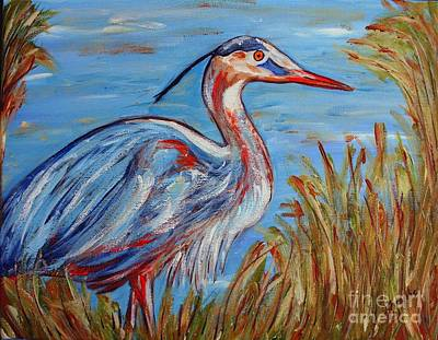 Poster featuring the painting Blue Heron by Jeanne Forsythe