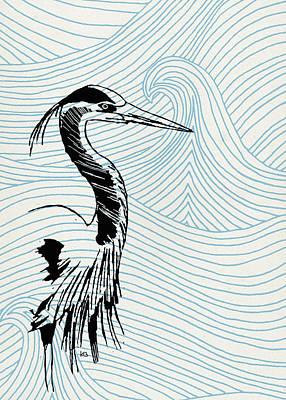 Blue Heron On Waves Poster