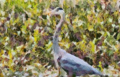 Blue Heron Painting Poster
