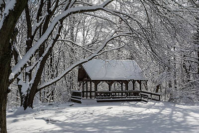 Blue Heron Park After Snowfall Poster by Kenneth Cole