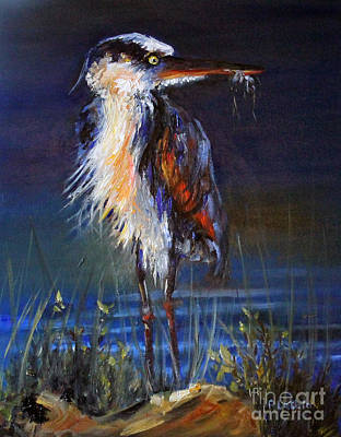 Poster featuring the painting Blue Heron by Priti Lathia