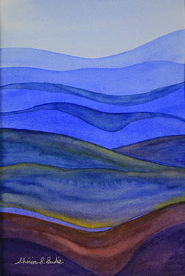 Poster featuring the painting Blue Hills by Shirin Shahram Badie