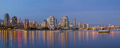 Poster featuring the photograph Blue Hour At False Creek Vancouver Bc Canada by JPLDesigns