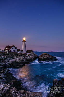 Blue Hour At Portland Head Lighthouse Poster by Scott Thorp