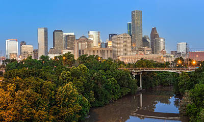 Blue Hour Panorama Of Downtown Houston Texas Poster by Silvio Ligutti