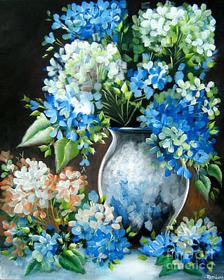 Poster featuring the painting Blue Hydrangeas by Patrice Torrillo