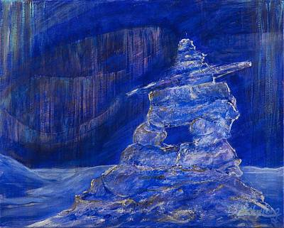 Poster featuring the painting Blue Inukshuk by Cathy Long