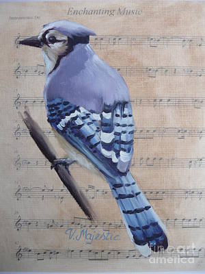 Blue Jay On Vintage Sheet Music Poster