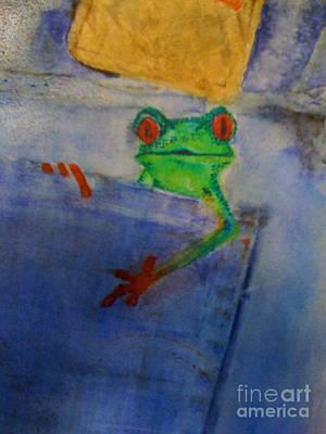 Blue Jean Frog Poster by Elena Kazmier Miranda Radock