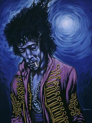 Blue Jimi Poster by Gary Kroman