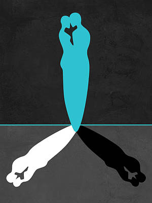 Blue Kiss Shadow Poster by Naxart Studio