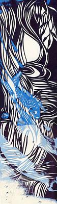 Blue Koi Paper Cut Poster