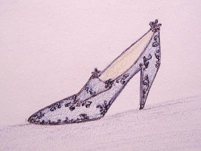 Blue Lacey Shoe Poster by Christine Corretti